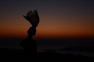 20160211彫刻《瀬戸内の風》と瀬戸内の夜明け (1)