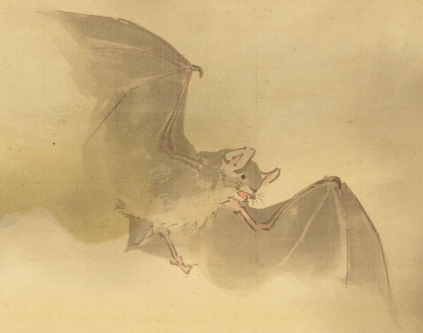 鈴木松年《月下蝙蝠図》 - コピー